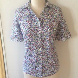 Talbots Non-Iron Floral Button Down Shirt 8P